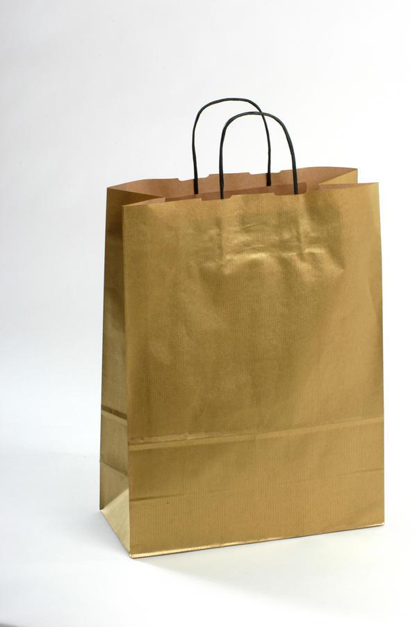 Крафт пакет золотой Новогодний