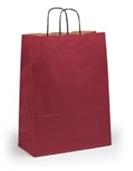 Бордовый крафт пакет с крученой ручкой