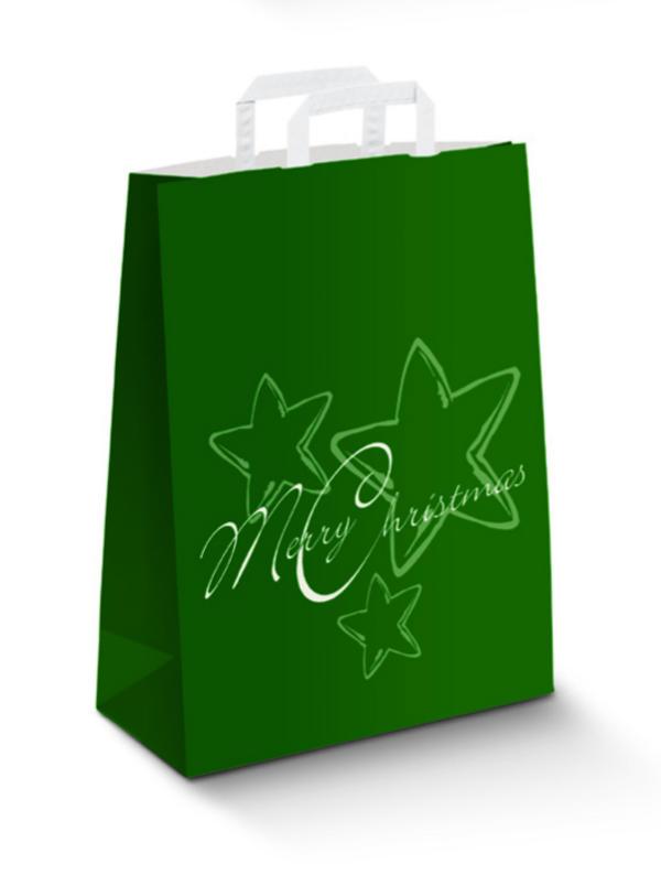 Крафт пакеты Новогодние зеленый, плоские ручки
