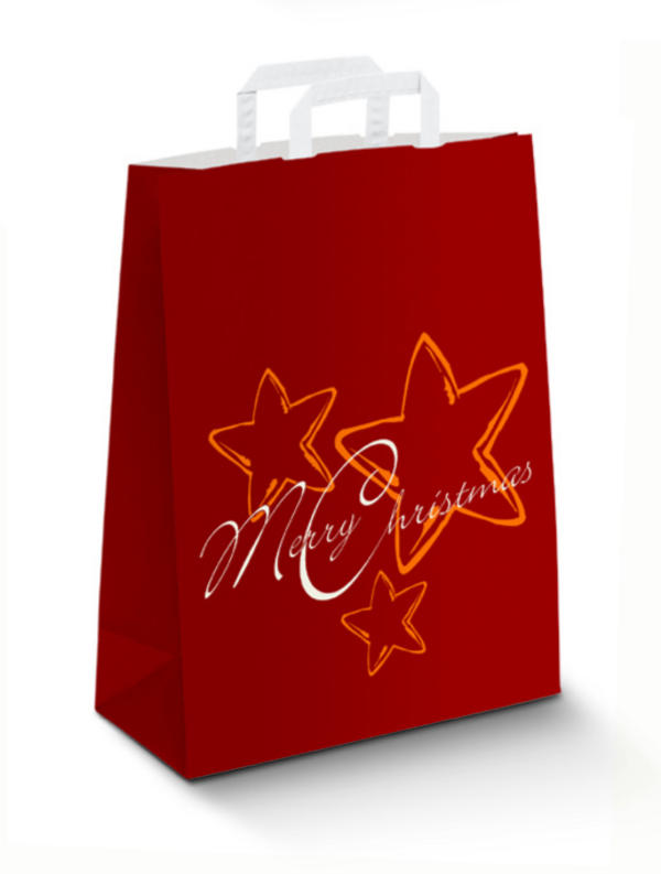Крафт пакеты Новогодние красный, плоские ручки