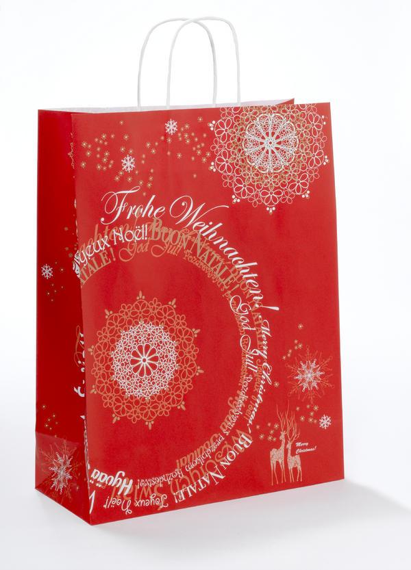 Крафт пакеты Новогодние красный, крученые ручки